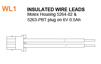 WL1 Battery - Insulated Wire Leads Specifications